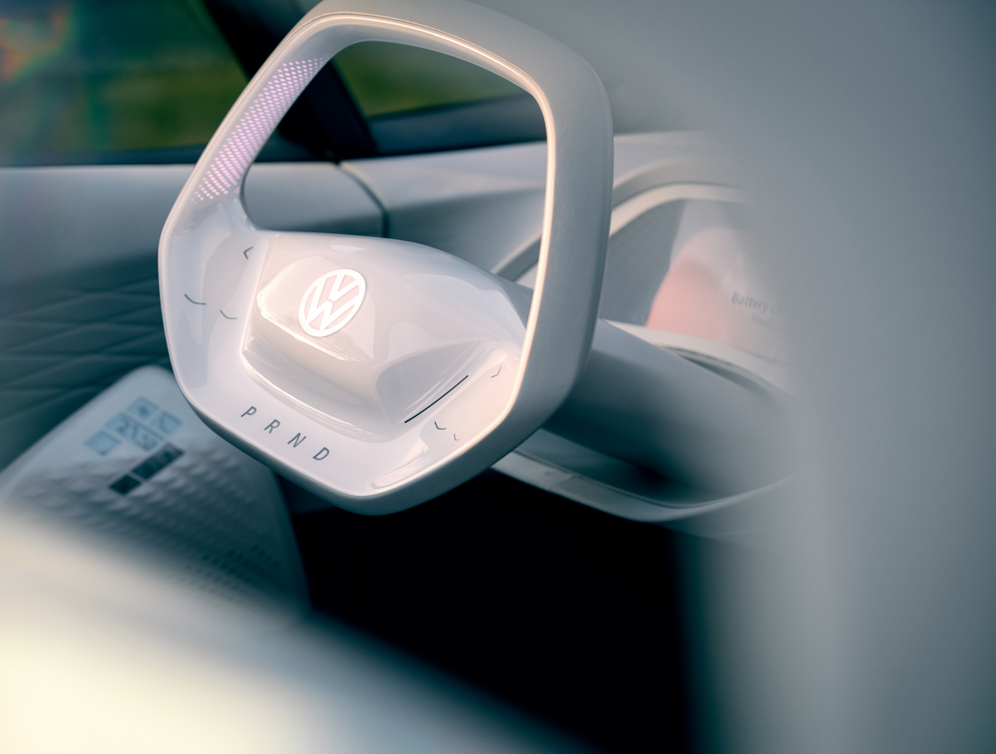 The steering wheel of the ID. concept car.
